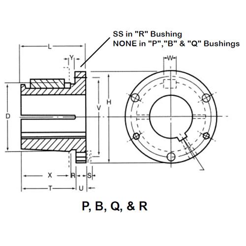 6.375 Bolt Circle B 4.5 Bushing Depth Ametric/® 4545.2-15//16 Taper Bushing 21 Lbs 2-15//16 Inch Bore 3//4x3//8 Keyseat, A 1-014 3//4x2 Setscrew Threads